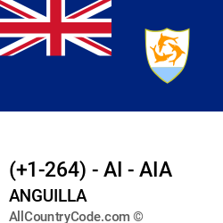 Anguilla Country and phone Codes : +1-264, AI, AIA