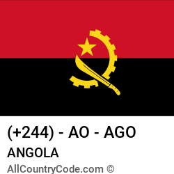 Angola Country and phone Codes : +244, AO, AGO
