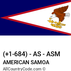 American Samoa Country and phone Codes : +1-684, AS, ASM