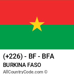 Burkina Faso Country and phone Codes : +226, BF, BFA