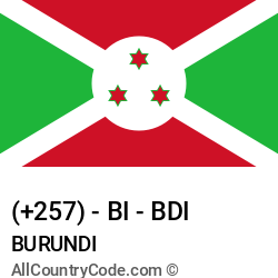 Burundi Country and phone Codes : +257, BI, BDI