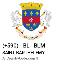 Saint Barthelemy Country and phone Codes : +590, BL, BLM