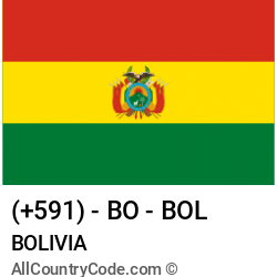 Bolivia Country and phone Codes : +591, BO, BOL