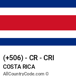 Costa Rica Country and phone Codes : +506, CR, CRI