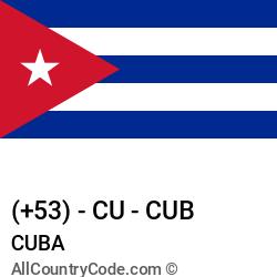 Cuba Country and phone Codes : +53, CU, CUB