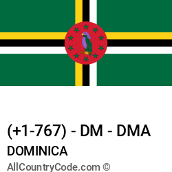 Dominica Country and phone Codes : +1-767, DM, DMA