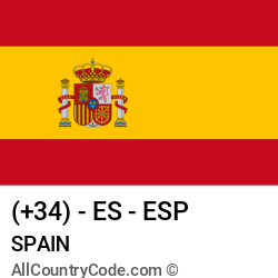 Spain Country and phone Codes : +34, ES, ESP