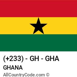 Ghana Country and phone Codes : +233, GH, GHA