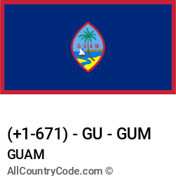 Guam Country and phone Codes : +1-671, GU, GUM