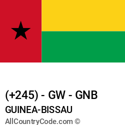 Guinea-Bissau Country and phone Codes : +245, GW, GNB