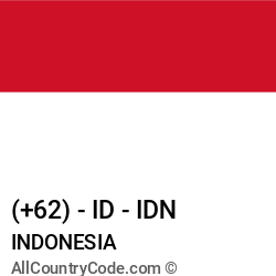 Indonesia Country and phone Codes : +62, ID, IDN