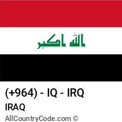 Iraq Country and phone Codes : +964, IQ, IRQ