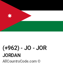 Jordan Country and phone Codes : +962, JO, JOR