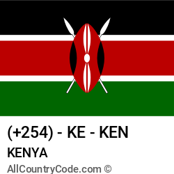 Kenya Country and phone Codes : +254, KE, KEN