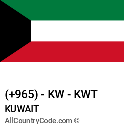 Kuwait Country and phone Codes : +965, KW, KWT