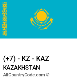 Kazakhstan Country and phone Codes : +7, KZ, KAZ