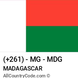 Madagascar Country and phone Codes : +261, MG, MDG