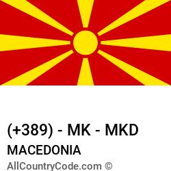 Macedonia Country and phone Codes : +389, MK, MKD