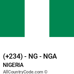 Nigeria Country and phone Codes : +234, NG, NGA