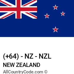 New Zealand Country and phone Codes : +64, NZ, NZL