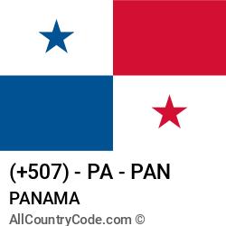 Panama Country and phone Codes : +507, PA, PAN