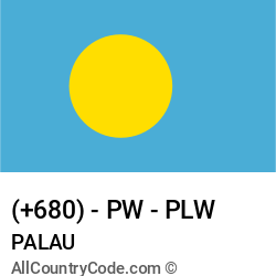 Palau Country and phone Codes : +680, PW, PLW