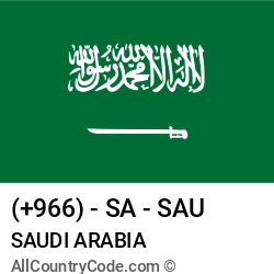 Saudi Arabia Country and phone Codes : +966, SA, SAU