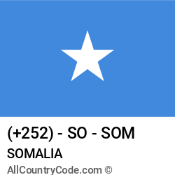 Somalia Country and phone Codes : +252, SO, SOM