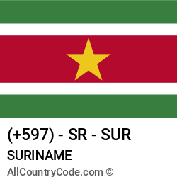 Suriname Country and phone Codes : +597, SR, SUR
