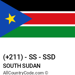 South Sudan Country and phone Codes : +211, SS, SSD