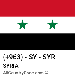 Syria Country and phone Codes : +963, SY, SYR