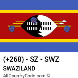 Swaziland Country and phone Codes : +268, SZ, SWZ
