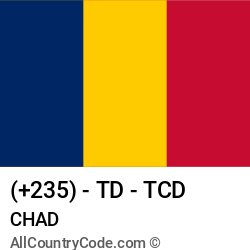 Chad Country and phone Codes : +235, TD, TCD