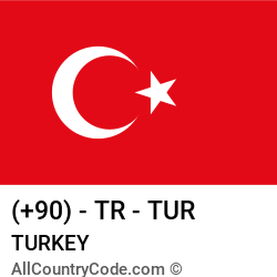 Turkey Country and phone Codes : +90, TR, TUR