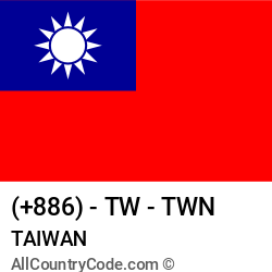 Taiwan Country and phone Codes : +886, TW, TWN