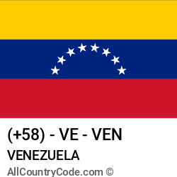 Venezuela Country and phone Codes : +58, VE, VEN