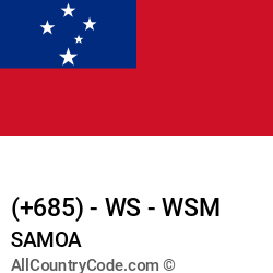 Samoa Country and phone Codes : +685, WS, WSM