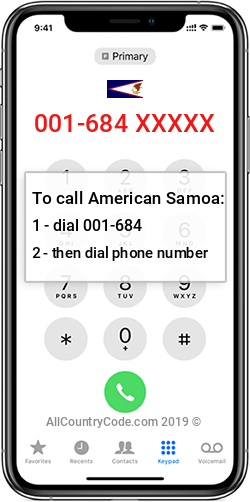 American Samoa 1-684 Country Code AS ASM