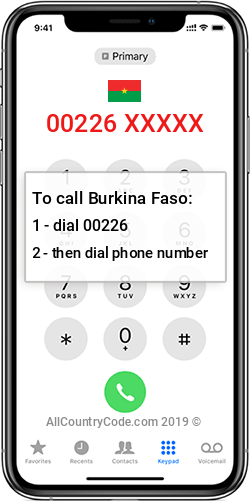 Burkina Faso 226 Country Code BF BFA