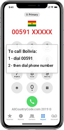 Bolivia 591 Country Code BO BOL