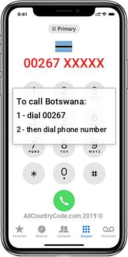 Botswana 267 Country Code BW BWA