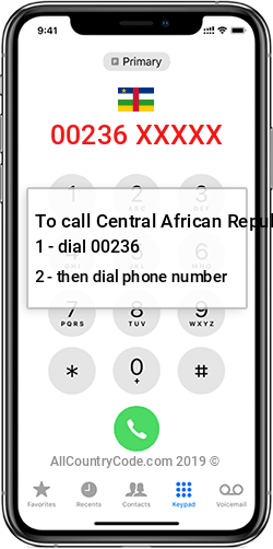 Central African Republic 236 Country Code CF CAF
