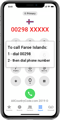 Faroe Islands 298 Country Code FO FRO