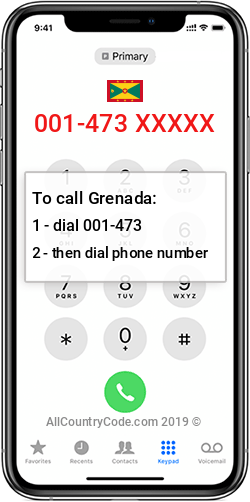 Grenada 1-473 Country Code GD GRD
