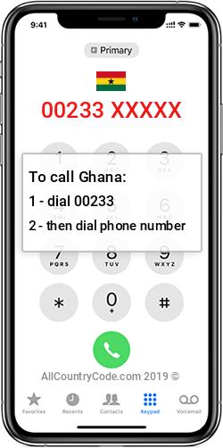 Ghana 233 Country Code GH GHA