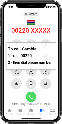 Gambia 220 Country Code GM GMB