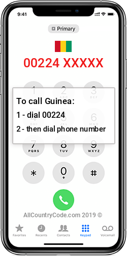 Guinea 224 Country Code GN GIN