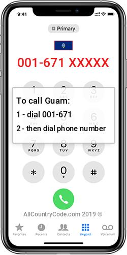 Guam 1-671 Country Code GU GUM