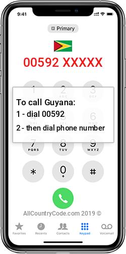 Guyana 592 Country Code GY GUY
