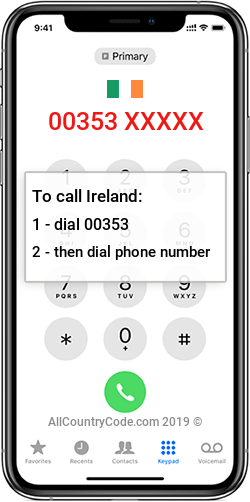 Ireland 353 Country Code IE IRL